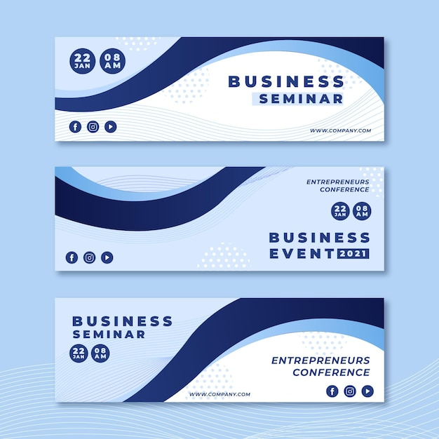 Business seminar banners designs Free Vector