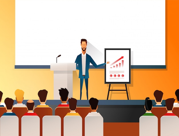 Business seminar speaker doing presentation and professional training about marketing, sales and e-commerce. flat illustration of presentation conference and motivation for business audience. Premium Vector