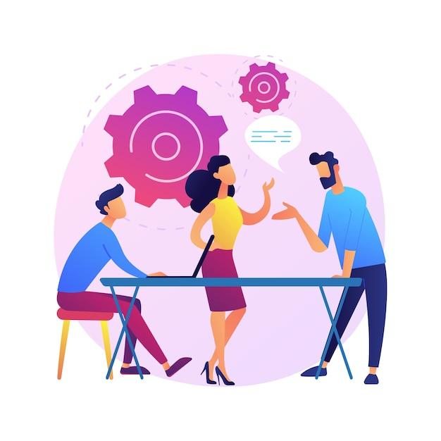 ビジネスセミナー。スタッフのトレーニングと能力開発。相談、コーチング、メンタリング。成功した実業家のレポートを聞いている漫画のキャラクター。 無料ベクター