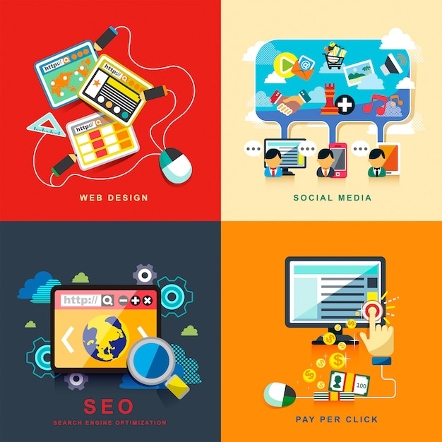 Business seo infographic  network and finance marketing strategy Premium Vector
