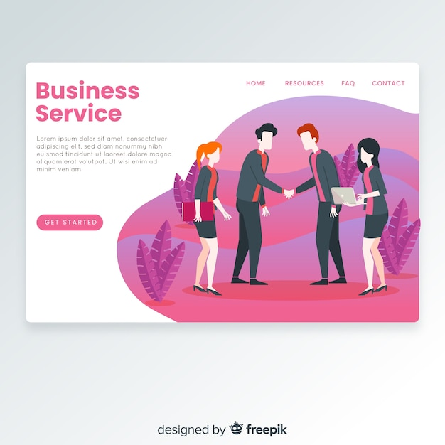 Business service landing page Free Vector