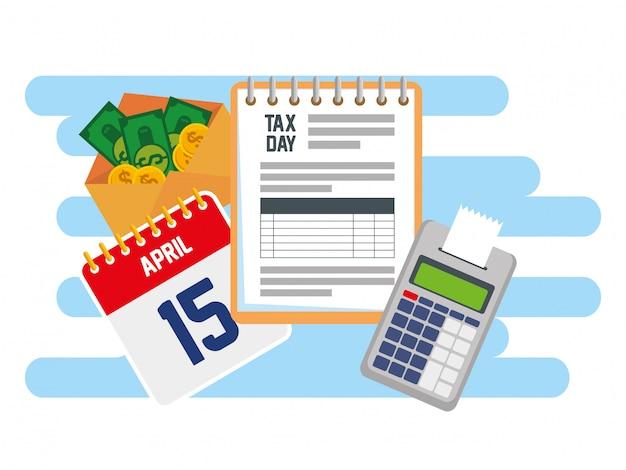 Imposta sui servizi alle imprese con dataphone e calendario Vettore gratuito