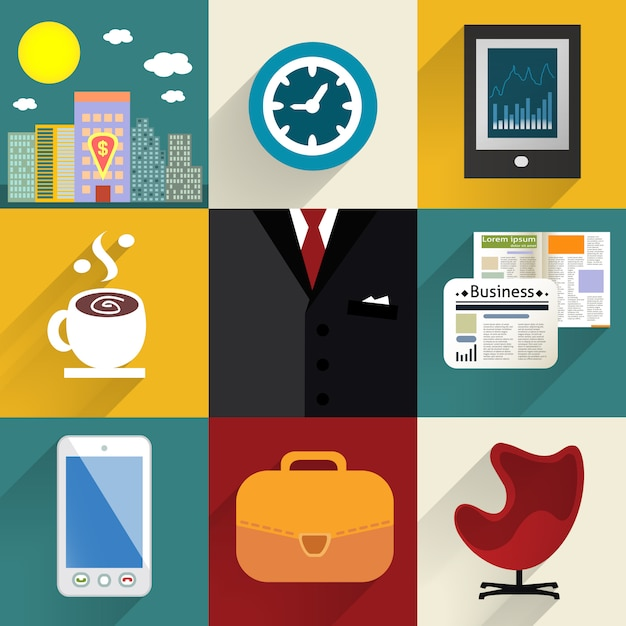 Business set of generic icons Free Vector