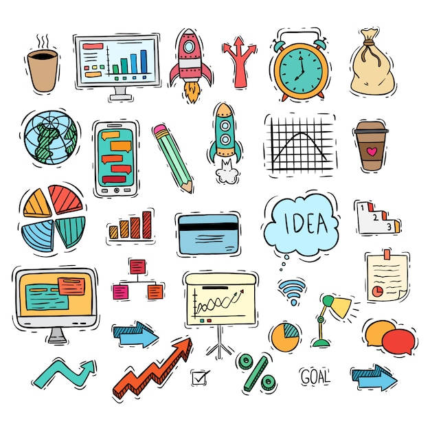 Business set icons or elements with colored doodle style Premium Vector