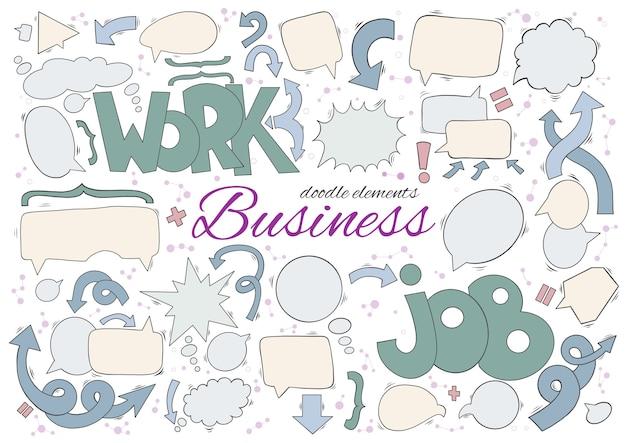 Бизнес-набор элементов речи и мыслей. Premium векторы
