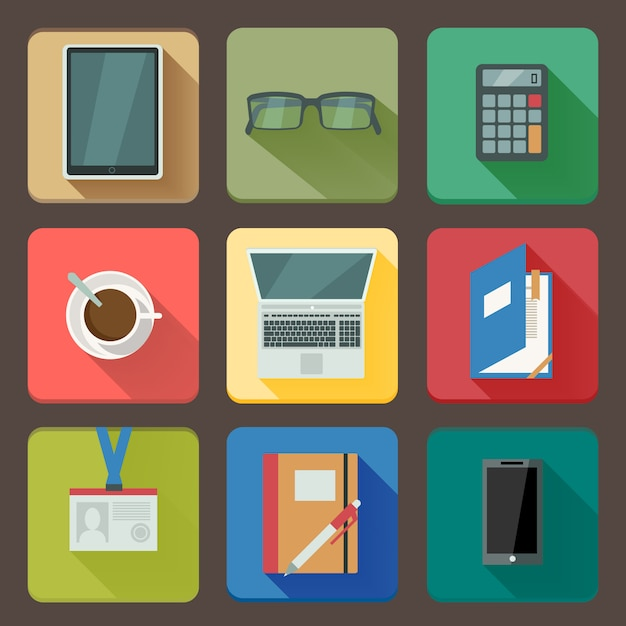 Business set of workplace icons Free Vector