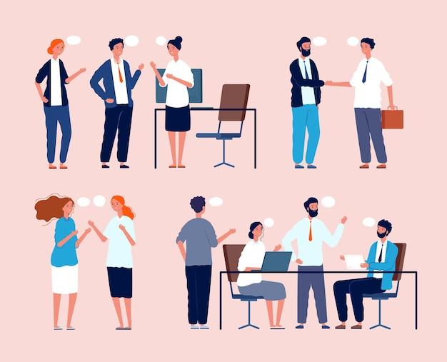 事業の状況。フラットな写真に出会うオフィスの人々のテーブルに座っている人々の間の対話。ビジネスワーカーとブレーンストーミング、組織のワークスペース、従業員の交渉の図 Premiumベクター