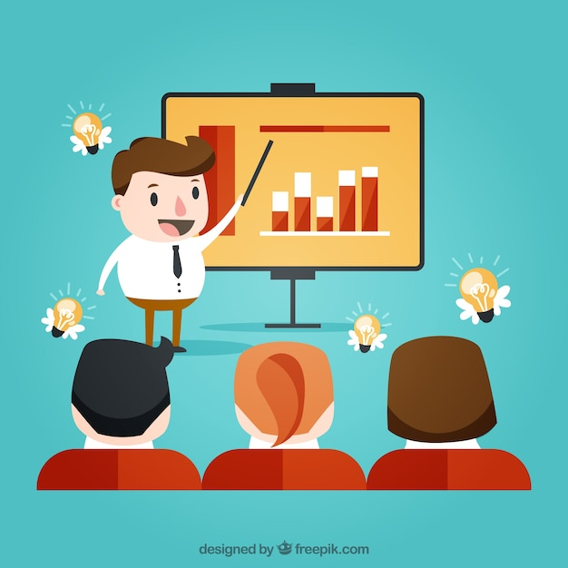 Business situation during a presentation Free Vector