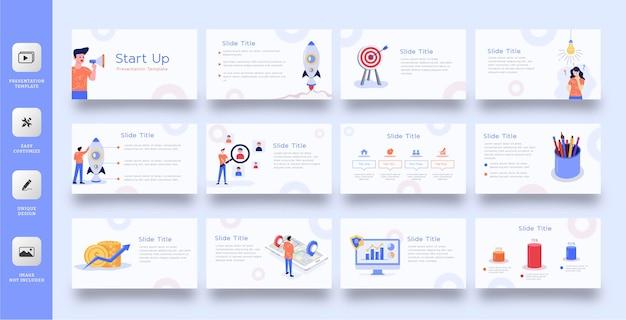 Шаблон бизнес-слайд-презентации с плоской иллюстрацией Premium векторы