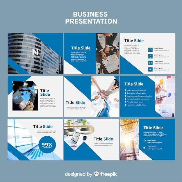 Business slide presentation template Free Vector