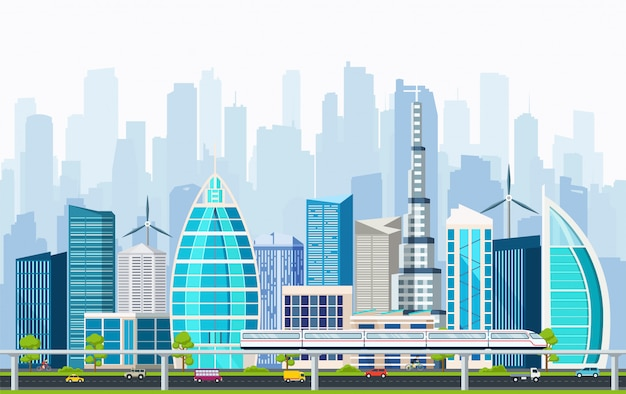 Business smart city with large modern buildings. Premium Vector