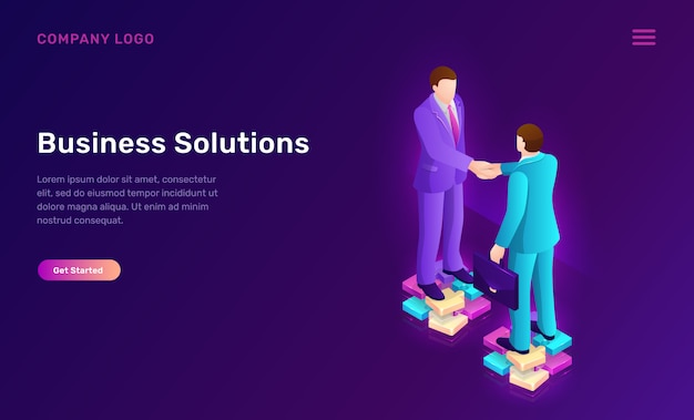Business solution and agreement isometric concept Free Vector