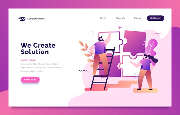 Business solution landing page for web Premium Vector