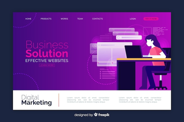 Business solution landing page Free Vector