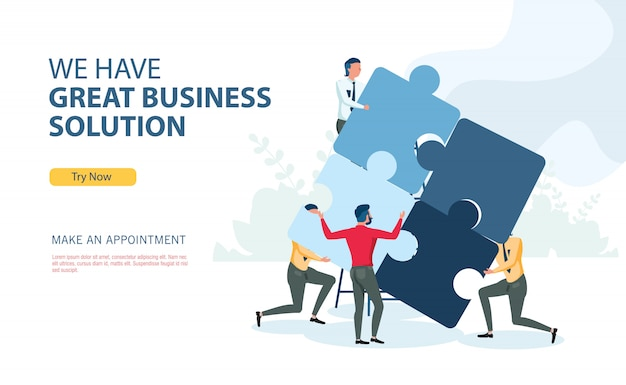 Business solution program with flat design concept Premium Vector