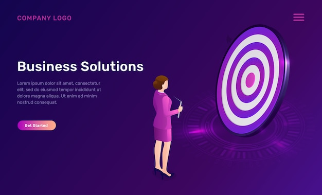 Business solution, target achievement isometric Free Vector