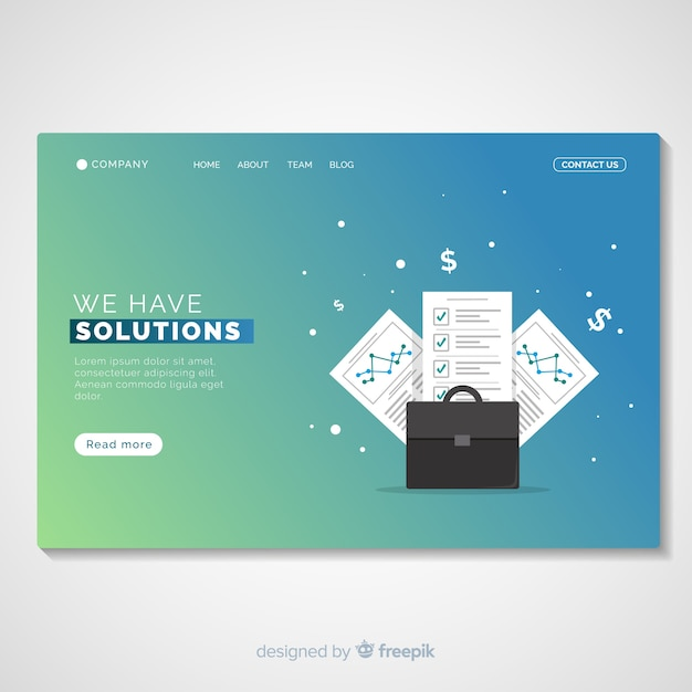 Business solutions landing page template Free Vector
