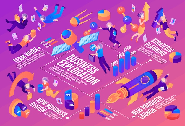 Business space infographics layout with strategic planning team work new products launch isometric elements Free Vector