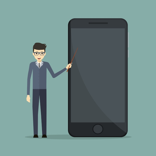 Business speaker in mobile technology pointing at a cell phone Premium Vector