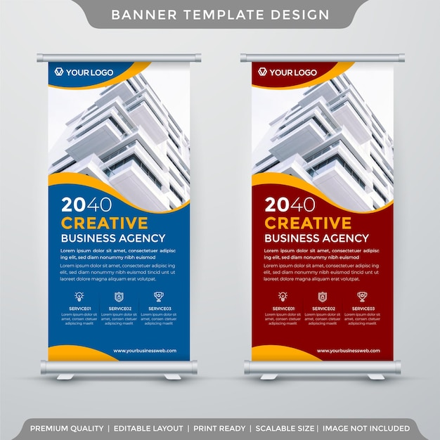 Business stand banner template premium style Premium Vector