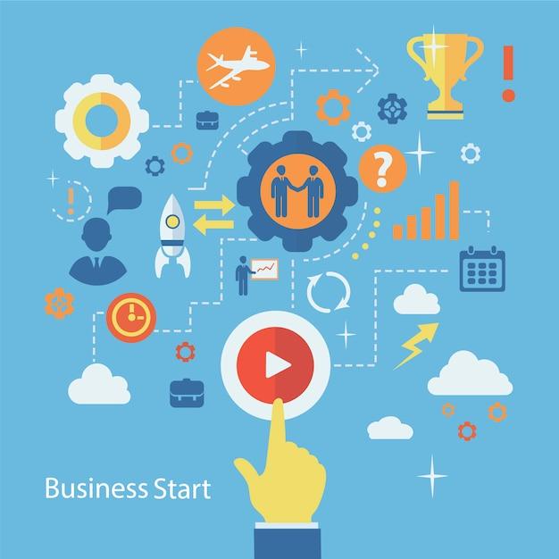 Business start infographics composition. scheme with humans Premium Vector