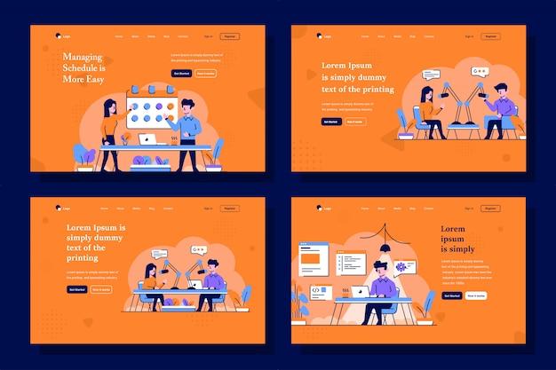 ビジネス、スタートアップ、およびランディングページのイラストをフラットでアウトラインなデザインスタイルでブロードキャスト Premiumベクター