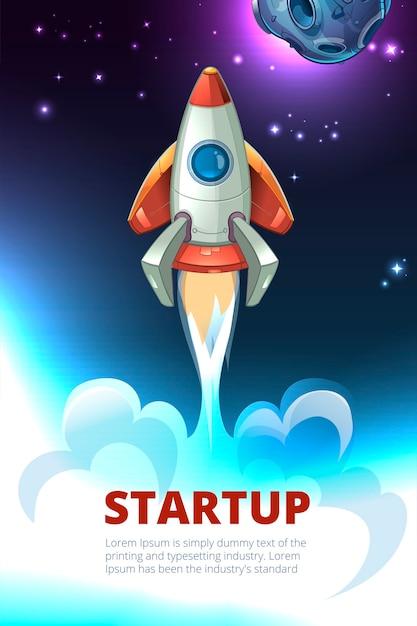 Иллюстрация запуска бизнеса. запуск ракетного проекта, технологические инновации, иллюстрация успешного развития Бесплатные векторы