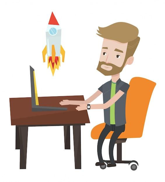 Business start up  illustration. Premium Vector