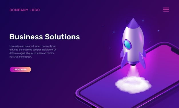 Business start up isometric concept with rocket Free Vector