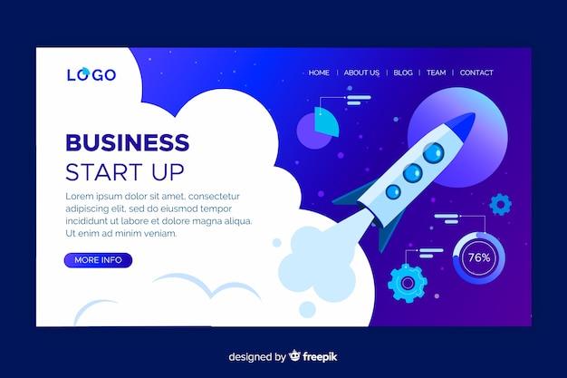 Business start up landing page design Free Vector
