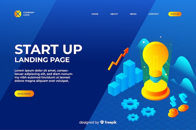 Business start up landing page design Free Vector