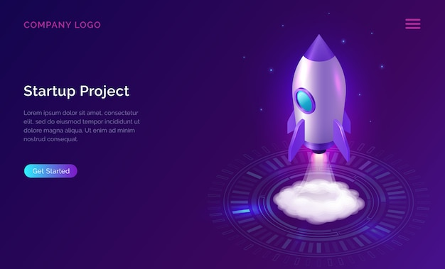 Business start up landing page, isometric rocket Free Vector