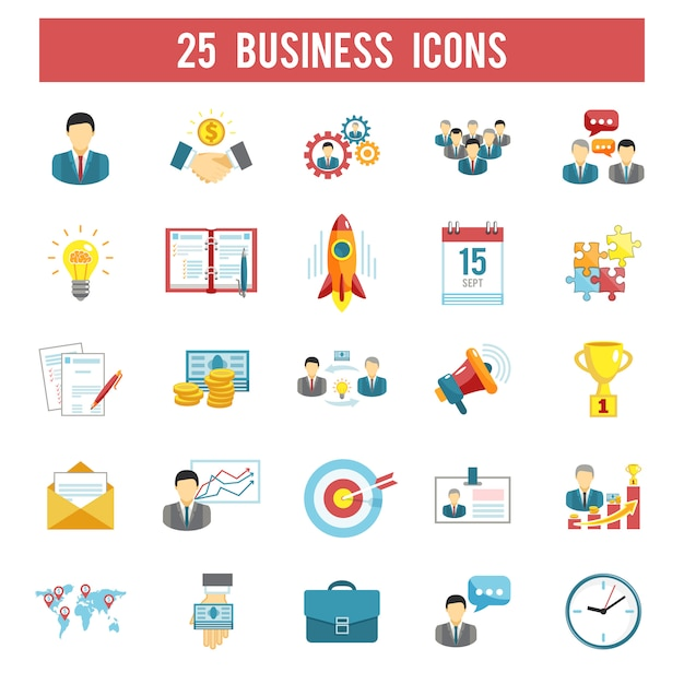 Business startup flat icons set Free Vector