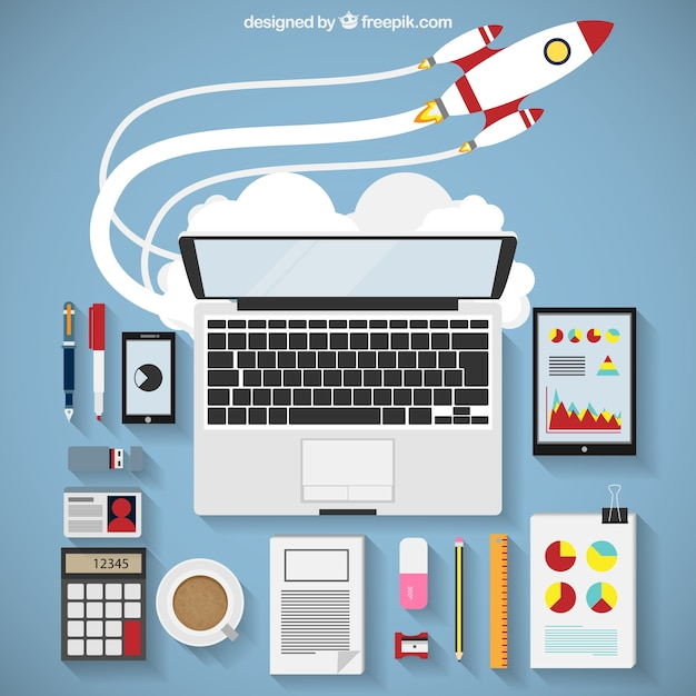 Business startup infography with rocket Free Vector