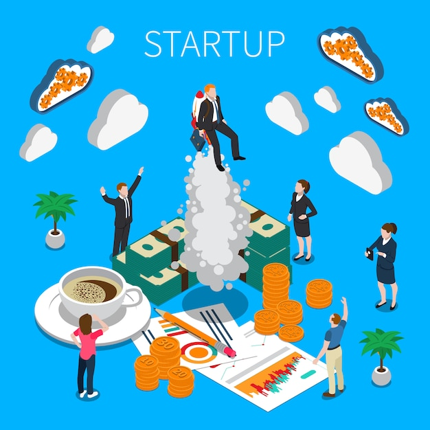 Business startup isometric composition Free Vector