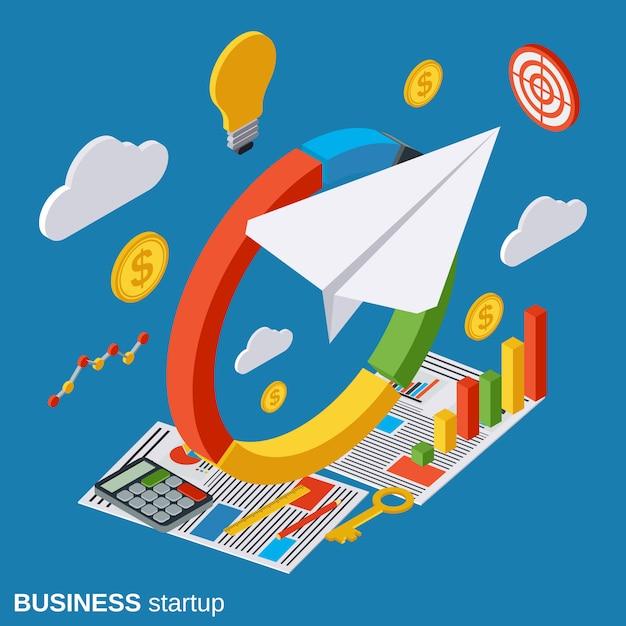 Business startup isometric vector concept illustration Premium Vector