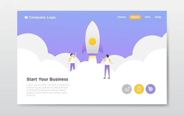 Business startup landing page illustration Premium Vector