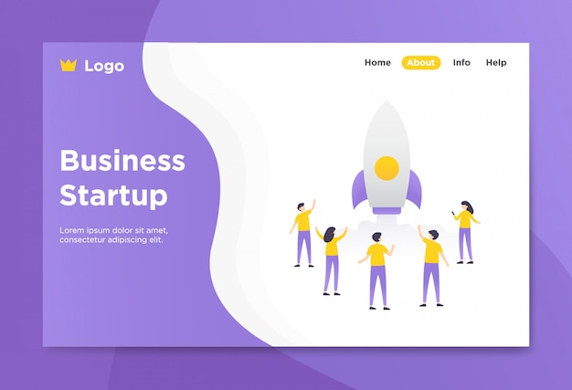 Business startup landing page illustration Premium Vector