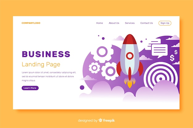 Business startup landing page template Free Vector