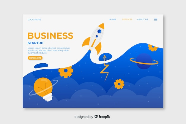 Business startup landing page with sky above clouds and space rocket Free Vector
