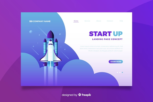 Business startup landing page Free Vector