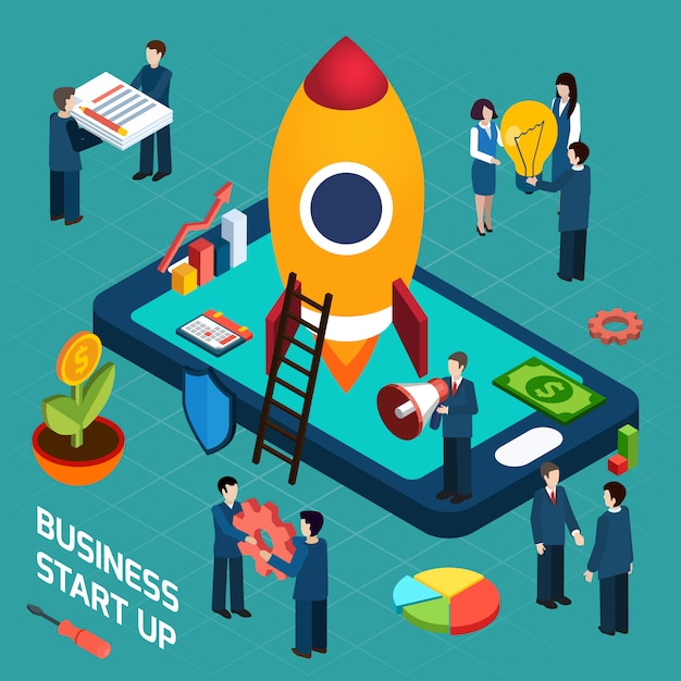 Business startup launch concept isometric poster Free Vector