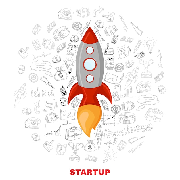 Business startup launch concept poster print Free Vector