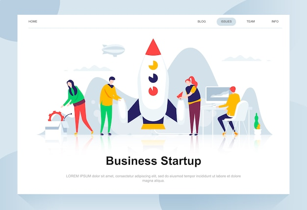 Business startup modern flat design concept. Premium Vector