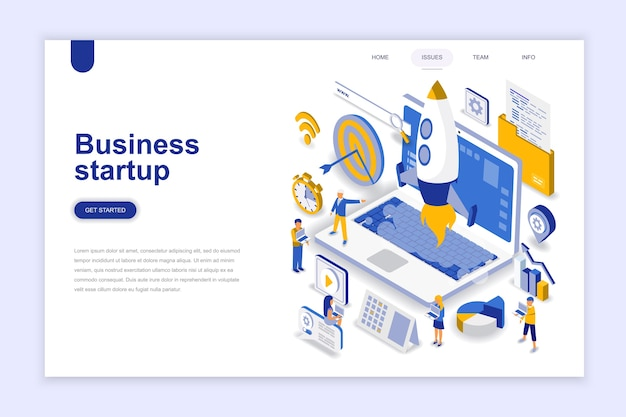 Business startup modern flat design isometric concept. Premium Vector