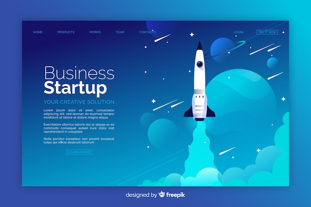 Business startup rocket landing page Free Vector