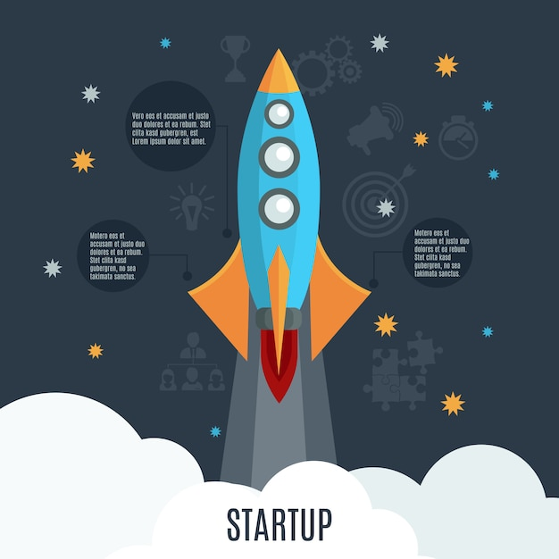 Business startup rocket launch flat poster Free Vector