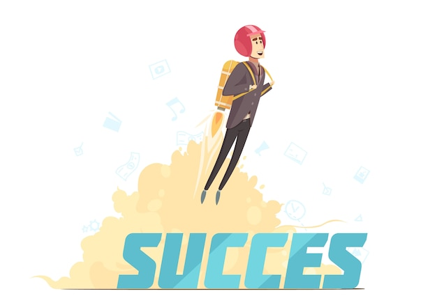 Business startup success symbolic poster Free Vector