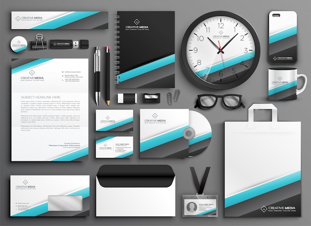 Business stationery collateral set for your brand Free Vector