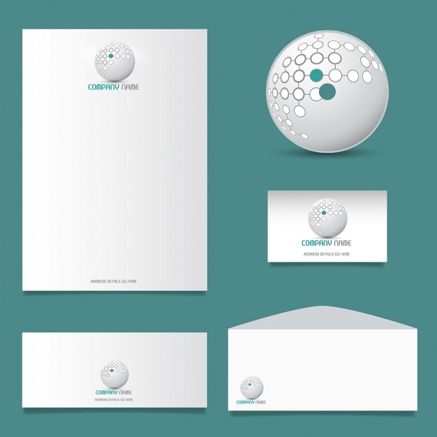 business stationery design with modern logo vector free download